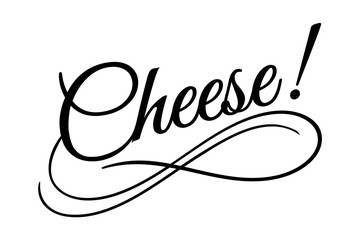 Cheese sign. Vector illustration. Beautiful typography banner lettering word text vector design. Greeting invite poster card hand drawn ink black art brush white isolated background