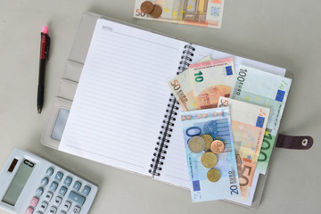Euro money banknotes and coins counting with calculator, note book and pen on desk