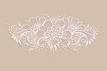 Vector ethnic mehndi pattern. Template for mehndi ornament. Hand drawn detailed outline pattern. Ornamental flowers set of indian style ornaments. Floral mehndi ornamental elements. Henna illustration