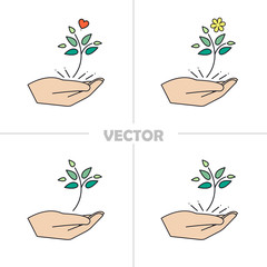 Help the environment vector logo-conservation of nature