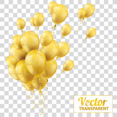 Golden Transparent Balloons Bunch