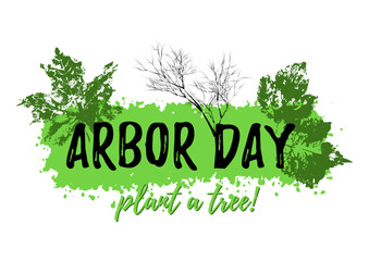 Abstract grunge banner from paint splash with prints of leaves in green colors isolated on white. Plant tree in Arbor day. Vector illustration