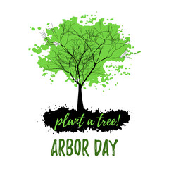 Abstract tree with green foliage in grunge style isolated on white background. Plant tree in Arbor day. Vector illustration