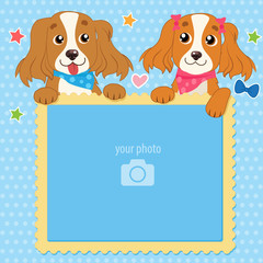 Decorative Template For Baby, Family Or Memories. Two Shaggy Dogs With Vector Photo Frame. Children'S Photo Framework. Isolated Object For Design Element. Scrapbook Vector Illustration.