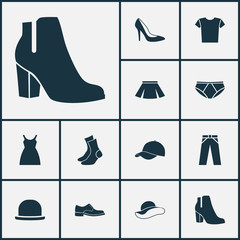Garment Icons Set. Collection Of Casual, Female Winter Shoes, Trilby And Other Elements. Also Includes Symbols Such As Dress, Shoe, Sarafan.