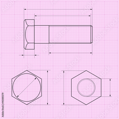 metal bolt technical drawing on graph paper stock image and royalty
