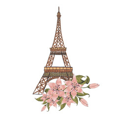 Eiffel Tower with Flowers Hand-Painted Isolated Illustration