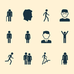 Human Icons Set. Collection Of Gentleman, Scientist, Work Man And Other Elements. Also Includes Symbols Such As Smart, Gentleman, Climbing.