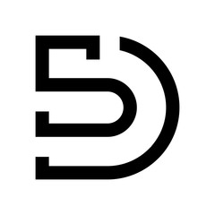 letter S or 5 and D logo vector.