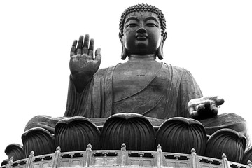 seated Tian tan Buddha Hong Kong black white