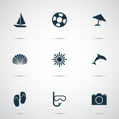 Hot Icons Set. Collection Of Mammal, Parasol, Video And Other Elements. Also Includes Symbols Such As Parasol, Flip, Shell.