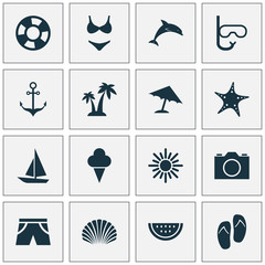 Sun Icons Set. Collection Of Parasol, Sunny, Armature And Other Elements. Also Includes Symbols Such As Conch, Suit, Video.