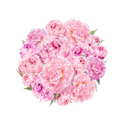 Floral pattern with pink peony flowers. Vintage watercolor