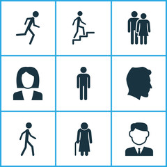 Person Icons Set. Collection Of Work Man, Running, Male And Other Elements. Also Includes Symbols Such As Jogging, Businesswoman, Woman.
