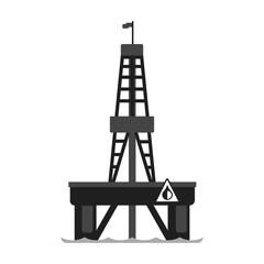 Oil platform in the sea. Oil industry production equipment, flat vector illustration