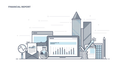 Flat Line Design Header - Financial Report