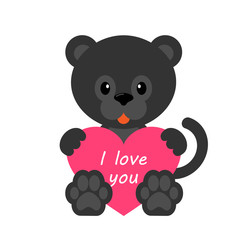 cartoon panther with heart
