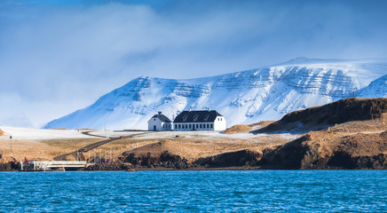 Icelandic landscape with snowy mountains