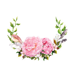 Floral wreath with pink peony flowers, feathers. Romantic card in retro boho style. Watercolor