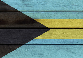 Bahamas flag on a wood