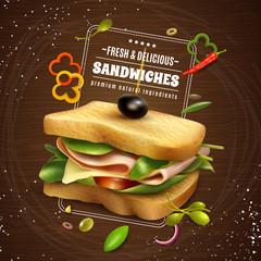Fresh Sandwich Wooden Background Advertisement Poster