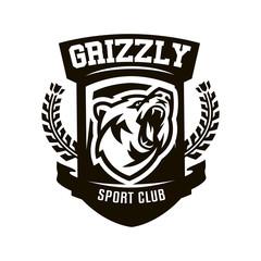 Monochrome logo, emblem, growling bear.