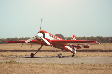 Small sport airplane at the airport.