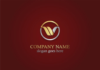 gold round letter v company logo