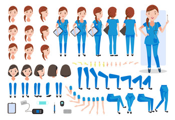 Nurse Nursing women  character creation set. Icons with different types of faces and hair style, emotions,  front, rear, side view of female person.Moving arms,legs.Sit,stand,walk  Vector illustration