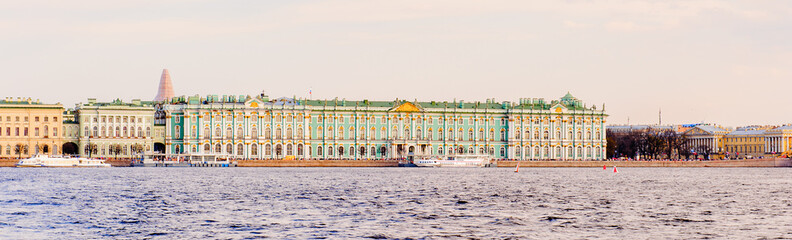 COastline and bridge of Saint Petersburg.