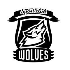 Monochrome logo, emblem, howling wolf
