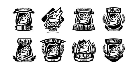 Collection of logos, emblems, howling wolf.