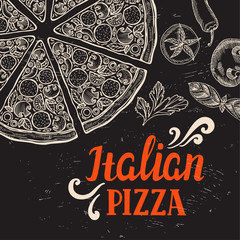 Pizza poster for restaurant and cafe.