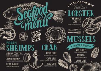Seafood menu restaurant.