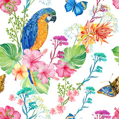 seamless pattern ,watercolor illustration .parrots and flowers