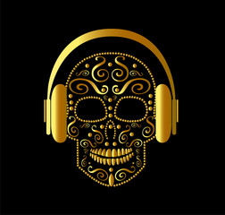 Skull vector with headphones gold color vector