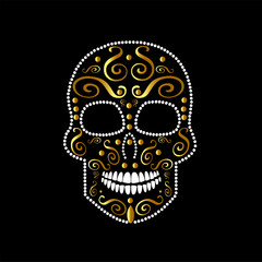 Skull vector background with ornament details