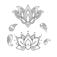 Sketch of a beautiful lotus on a white background.