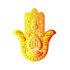 Sketch of a golden hamsa on a white background.