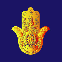 Sketch of a golden hamsa on a blue background.