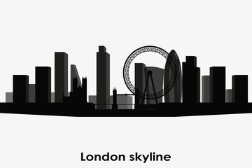 London skyline vector silhouette. Black and white cityscape.