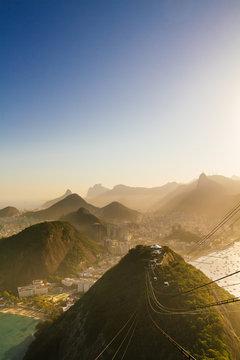 A breathtaking view over Rio de Janeiro towards the Cobacabana and Ipanema beaches seen from Pão de Açúcar