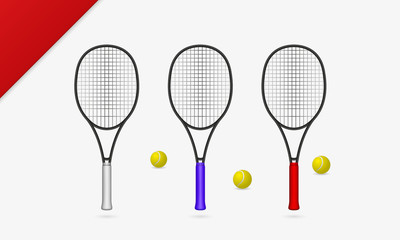 Tennis rackets with tennis balls vector illustration.