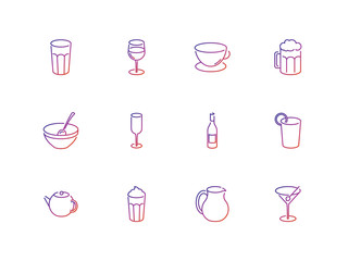 Set of vector icons of drinks