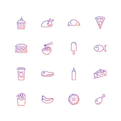 Fast food, food, icon set
