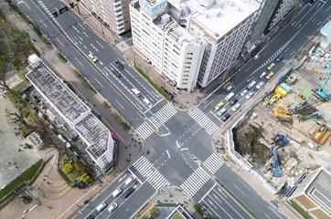 東京都市風景 大都会の交差点