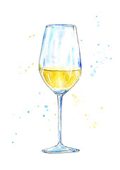 Glass of a white wine.Picture of a alcoholic drink.Watercolor hand drawn illustration.