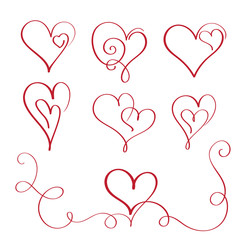 set of red flourish calligraphy vintage hearts. Illustration vector hand drawn EPS 10