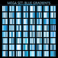 Set of blue gradients. Metallic squares collection,Vector illustration.