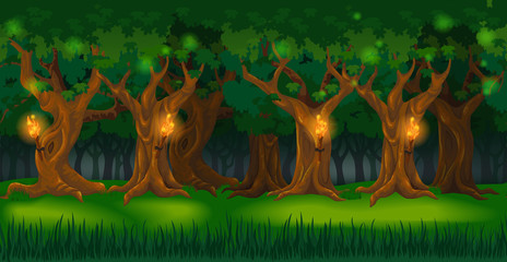Panorama cartoon background of an oak forest. Seamless parallax for 2D arcade computer game. Glade of green grass and trees lit by torches at night. Vector illustration